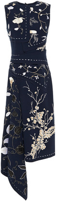 Oscar de la Renta Asymmetric Embroidered Wool-blend Crepe Midi Dress