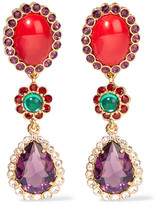Miu Miu Gold-tone, Cabochon And Crystal Clip Earrings - Red