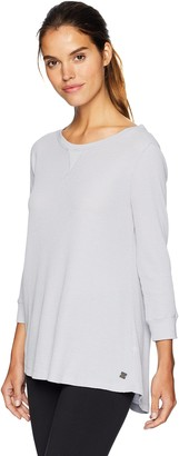 Calvin Klein Women's 3/4 Sleeve Boatneck Waffle Distress Pullover