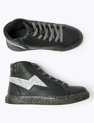 Marks and Spencer Kids Glitter Sole High Top Trainers (13 Small - 6 Large)
