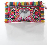Joelle Gagnard Multi-Color Canvas Pom Pom Trim Silver Sequin Heart Clutch New $250