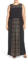 London Times Lace Panel Gown (Plus Size)