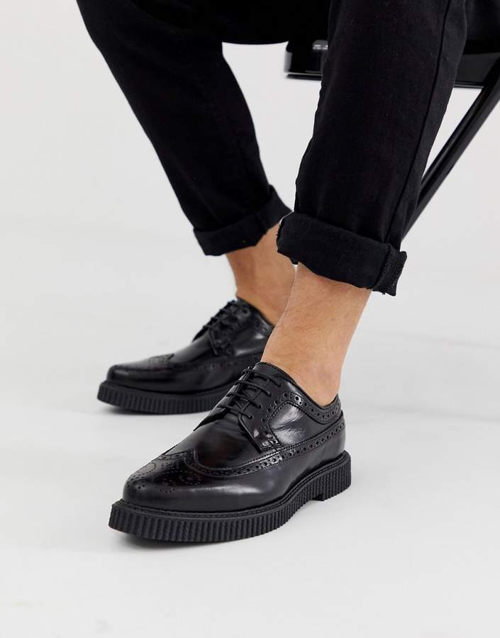 Asos DESIGN brogue shoes with creeper sole in black leather
