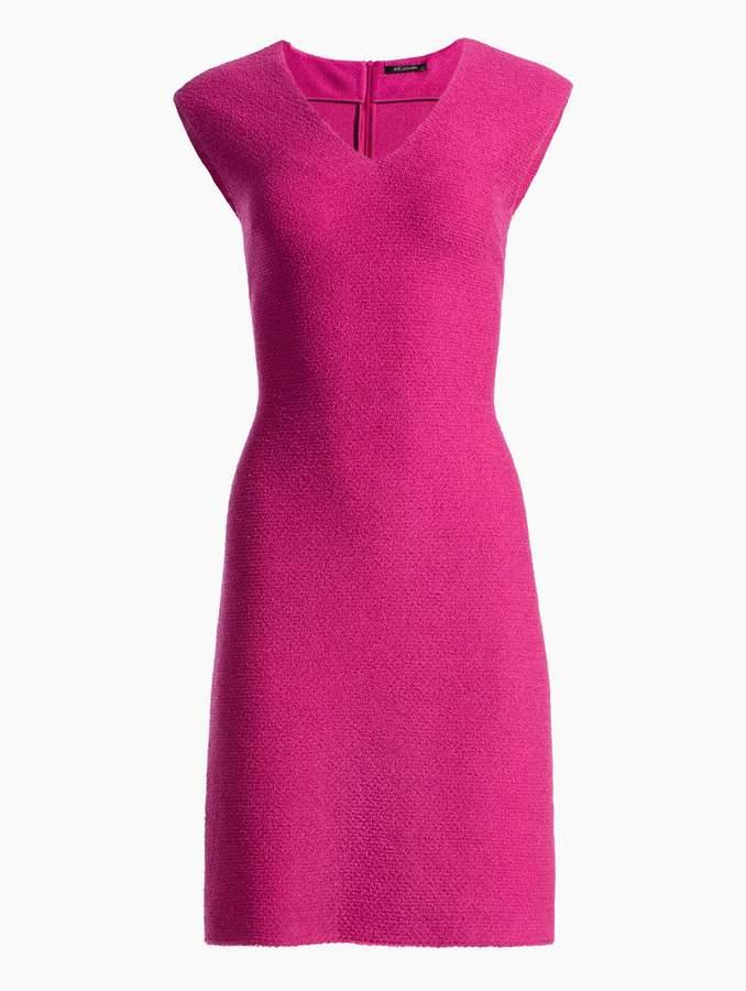 St. John Gracefully Refined Knit V-Neck Cap Sleeve Dress