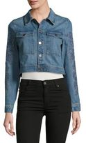 Calvin Klein Embroidered Cropped Jean Jacket
