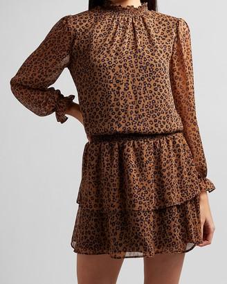 Express Leopard Smocked Waist Ruffle Mock Neck Dress
