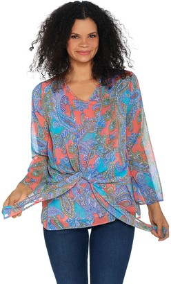 Belle By Kim Gravel Paisley Tie Front Blouse and Tank