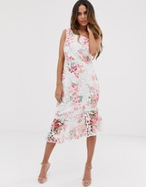 Lipsy one shoulder printed lace midi dress with flippy hem in floral print