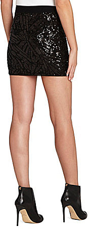 BCBGMAXAZRIA Paxton Sequined Mini Knit Skirt