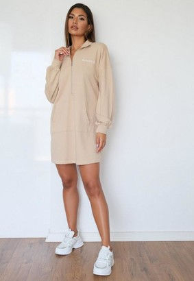 Missguided Tall Stone High Neck Oversized Sweater Dress
