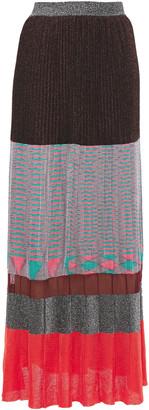 Missoni Pleated Metallic Intarsia-knit Maxi Skirt