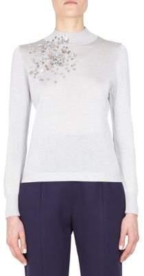 DELPOZO Embellished Ribbed Pullover