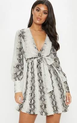 PrettyLittleThing Grey Snake Print Wrap Pleated Skater Dress