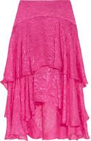 Preen by Thornton Bregazzi Tiered devoré-satin skirt