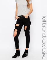 Liquor & Poker Tall Skinny Jeans With Extreme Distressing Ripped Knees