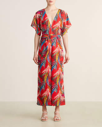 Red Carter Open Back Tropical Jumpsuit