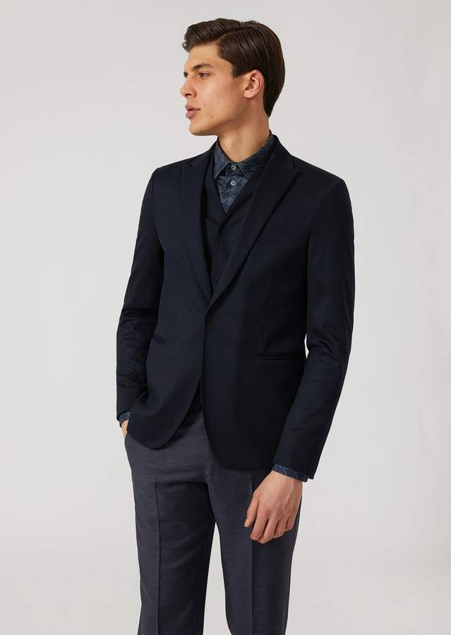 Emporio Armani Single-Breasted Bib Front Jacket In Stretch Jersey