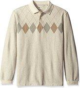 Haggar Men's Long Sleeve Double Jacquard Knit Polo