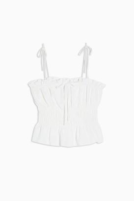 Topshop Womens Petite Plain Ivory Shirred Cami - Ivory