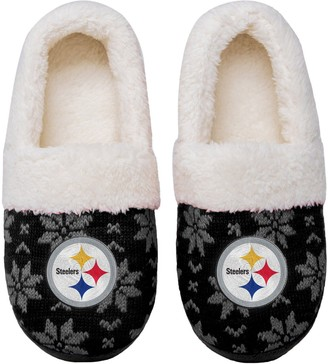 Women's Pittsburgh Steelers Ugly Knit Moccasin Slippers