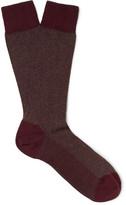 Ermenegildo Zegna Herringbone Cotton-blend Socks - Burgundy