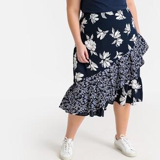 Castaluna Plus Size Floral Patchwork Midi Ruffled Skirt