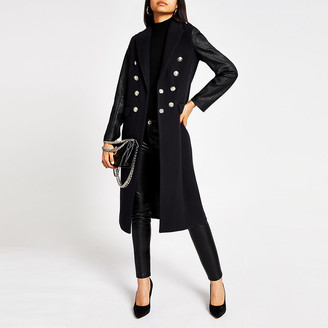 River Island Navy faux leather sleeve longline coat