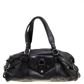 Celine Black Leather Logo Embellished Satchel