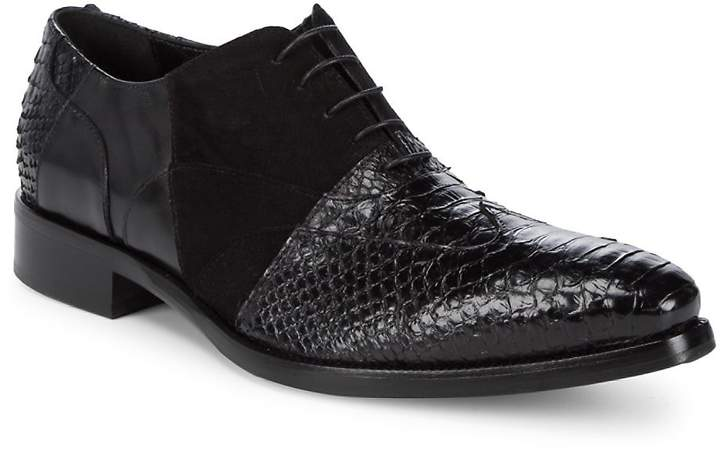 Jo Ghost Men's Lace-Up Embossed Leather Oxfords
