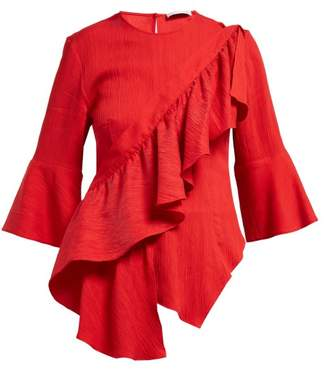 Palmer Harding Palmer//Harding Palmer//harding - Sash Ruffled Plisse Blouse - Womens - Red