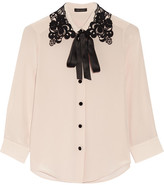 Marc Jacobs Guipure Lace-trimmed Silk Crepe De Chine Shirt - Lilac