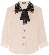 Marc Jacobs Guipure Lace-trimmed Silk Crepe De Chine Shirt - Lilac