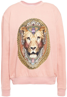 Camilla Midnight Meeting Crystal-embellished Printed French Cotton-terry Sweatshirt