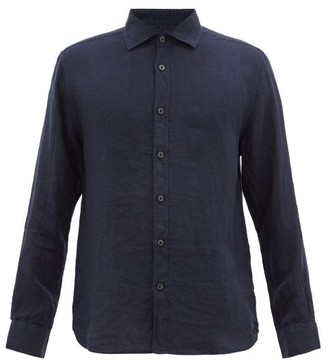 120% Lino Spread-collar Slubbed-linen Poplin Shirt - Mens - Navy