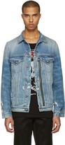 R 13 Blue Denim Distressed Zip Trucker Jacket