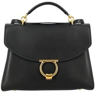 Salvatore Ferragamo Handbag Gancini Soft Sail Bag Margò In Genuine Hammered Leather