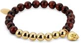 Northskull Red Tiger Eye & Gold Skull Charm Bracelet