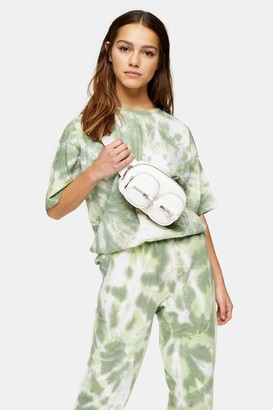 Topshop Womens Petite Green Short Sleeve Tie Dye T-Shirt - Green