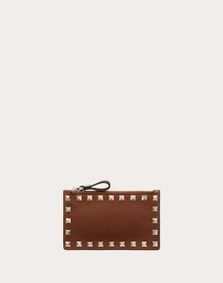 Valentino Rockstud Grainy Calfskin Cardholder With Zipper Women Brown Calfskin 100% OneSize
