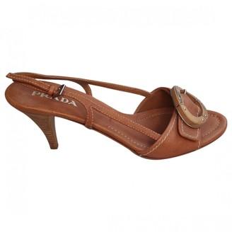 Prada Camel Leather Heels