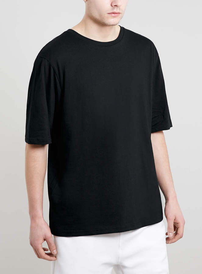Topman Black 3/4 Boxy T-Shirt