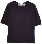 Miu Miu Split-back Bow-embellished Wool Sweater - Navy
