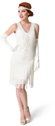 Unique Vintage Women's Aelita Beaded Fringe Flapper Dress