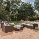 Christopher Knight Home Santa Rosa 9-Piece Outdoor Wicker Sectional w/cushions