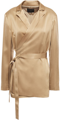 Mother of Pearl Crepe-satin Wrap Jacket