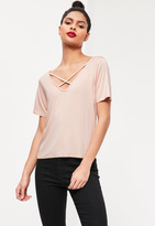 Missguided V-Neck Cross Strap Front T-Shirt Nude