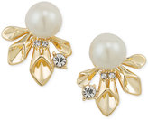 Carolee Gold-Tone Pavé & Imitation Pearl Stud Earrings