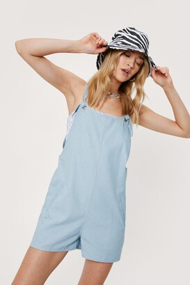 Nasty Gal Womens Work for It Tie Overall Romper - Blue