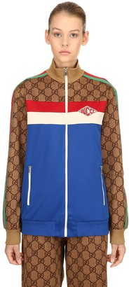 Gucci Gg Supreme Zip-up Jersey Track Jacket