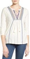 Lucky Brand Lace-Up Embroidered Top